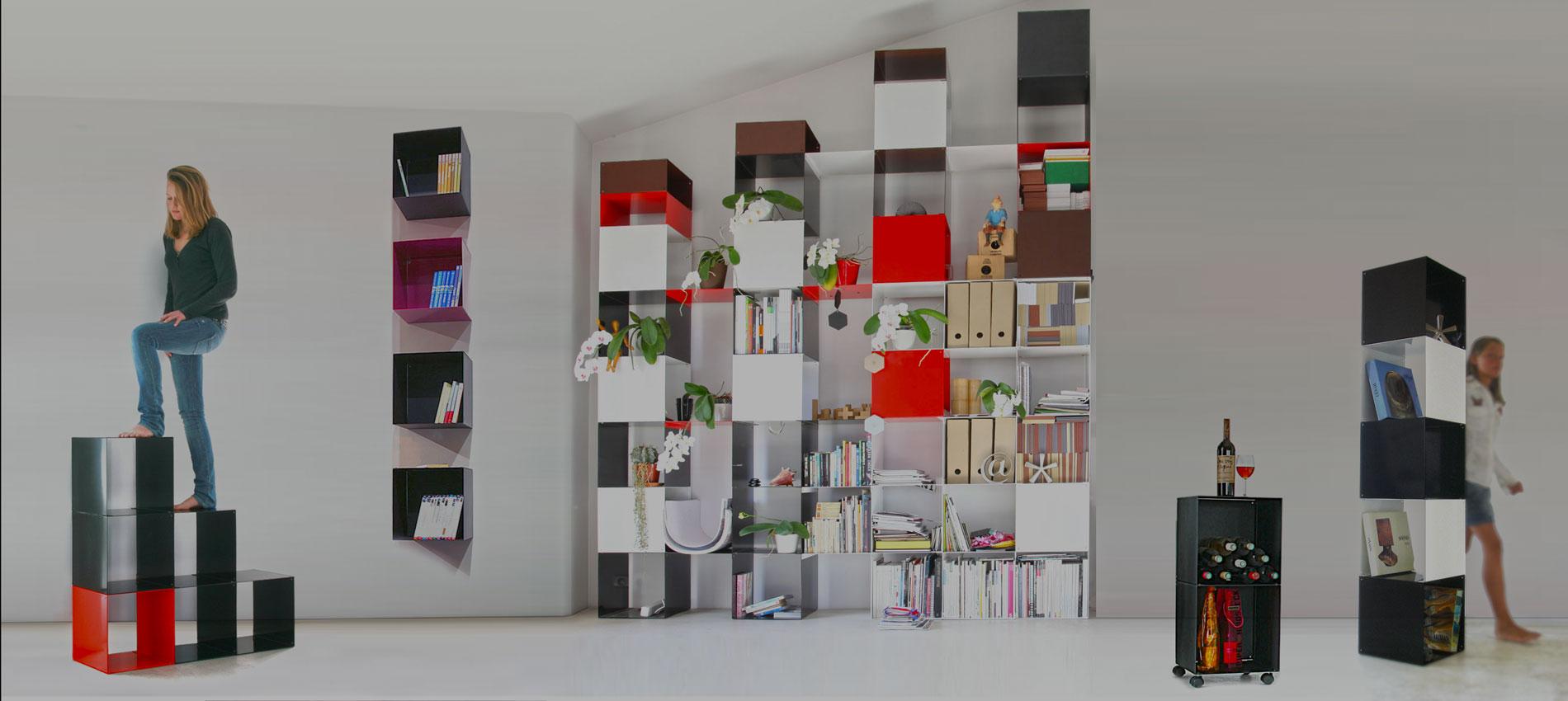 Bibliotheques Design Etageres Modulables Cubes De Rangement Quad35